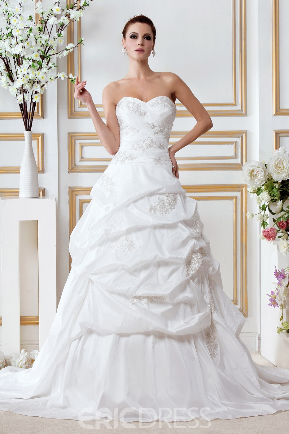 Junoesque A-Line/Princess Sweetheart Court Train Draped Bridal Gown