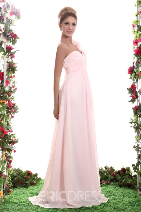Pretty Ruched A-Line Flowers Floor-Length Bridesmaid Dress