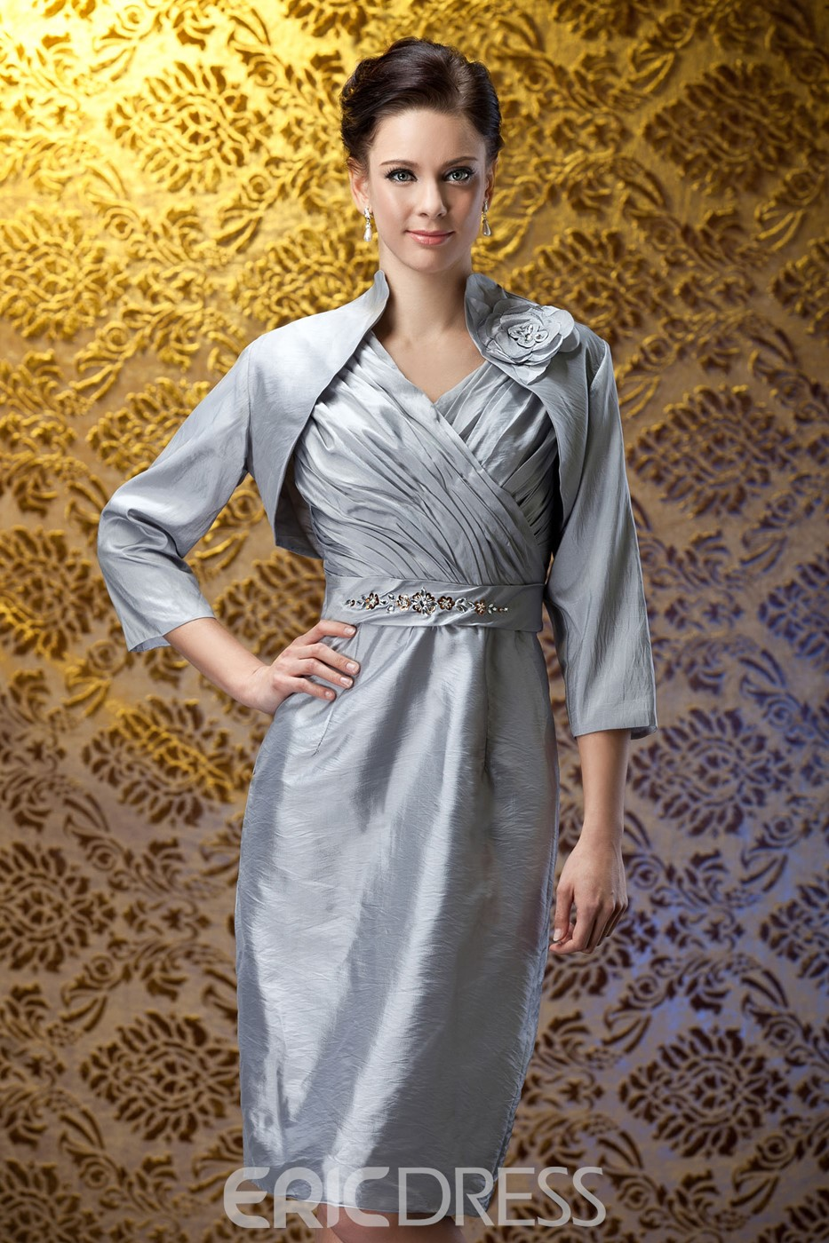 Fabulous Beaded Pleats Sheath/Column V-Neck Knee-Length Polina's Mother of the Bride Dress With Jacket/Shawl