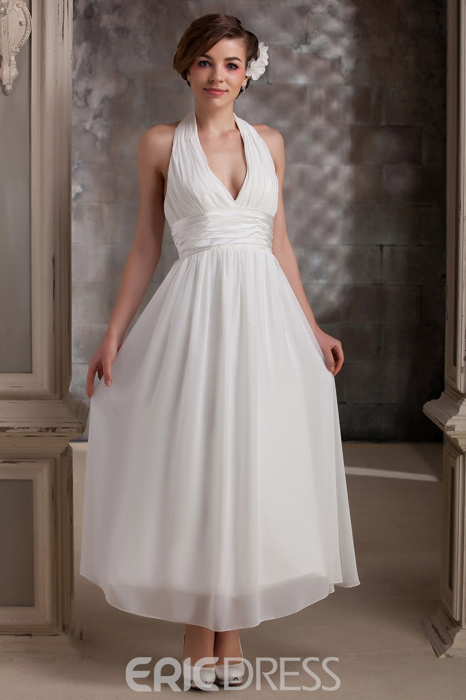 Plain Empire Halter Ankle-Length Daria's Wedding Dress