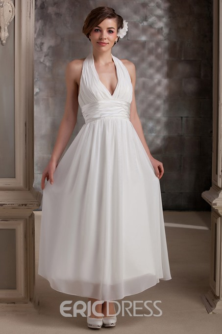 Ericdress Halter Tea-Length Beach Wedding Dress