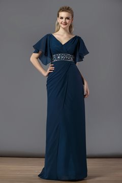 Charming Sheath/Column V Neck Floor-Length Beading Bridesmaid Dress