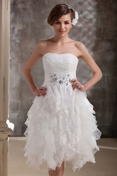 Fabulous Short/Mini-length Sweetheart Ruffles Wedding Dress