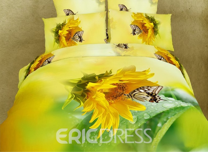 Warm-toned Bright Yellow Sunflower and Butterfly Cotton 4 Piece 3D Bedding Sets 10555556