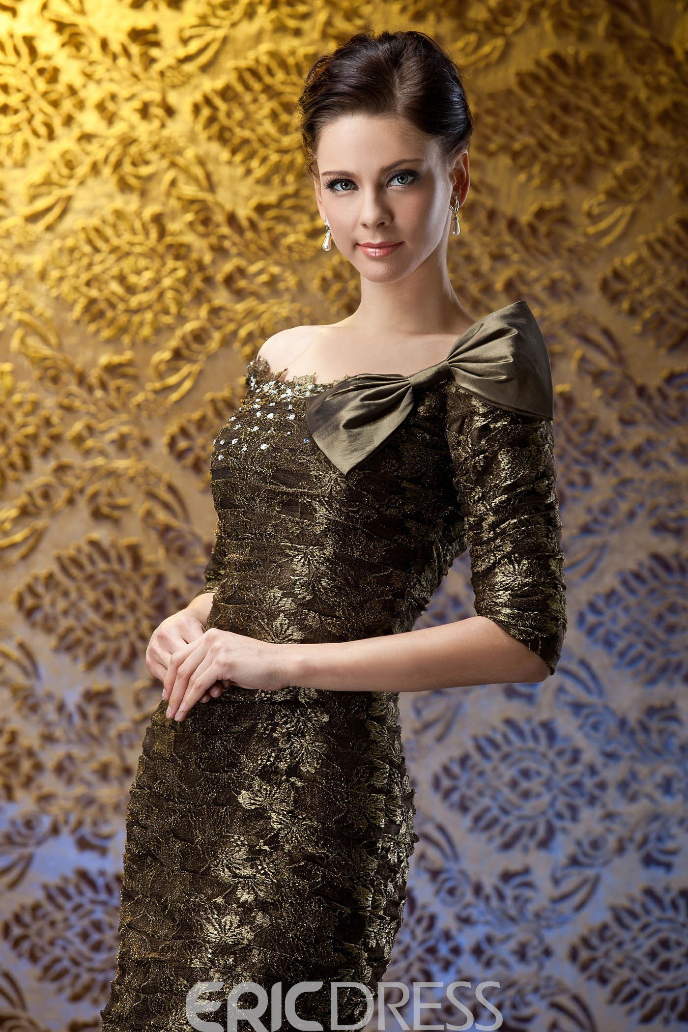 Attractive Lace Bowknot Knee-Length Mother of the Bride Dress