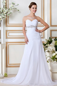 Fancy Sweeping Train A Line Sweetheart Wedding Dress