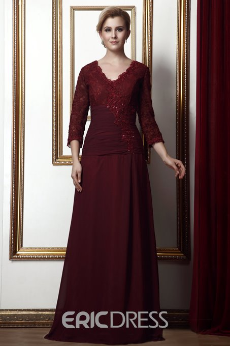 Gorgeous A-Line Scalloped-Edge Neck 3/4-Length-Sleeves Alina's Mother of the Bride Dress