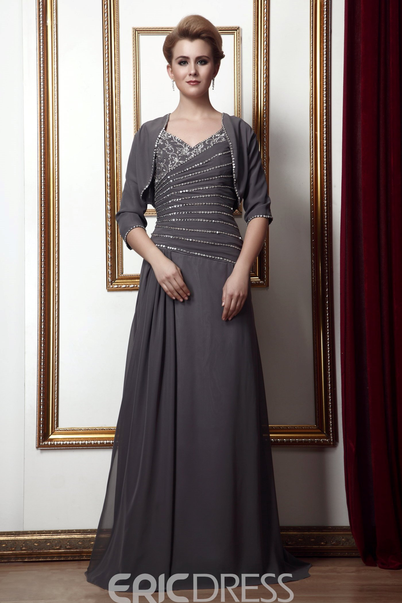 Image of 2012 Style Beading A-Line V-Neck Floor-Length Mother of the Bride Dress With Jacket/Shawl