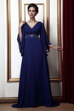 Gorgeous A-line V-Neck 3/4-Length Sleeves Mother of the Bride Dress