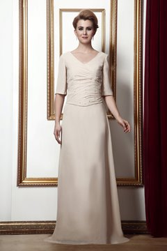 Concise Sequined A-Line V-neck Floor- Length Half Sleeves Alina's Mother of the Bride Dress