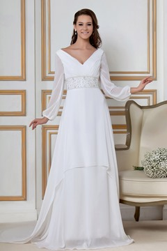 Chiffon Long Sleeves A-Line Wedding Dress