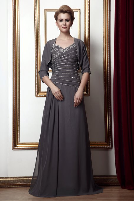 2012 Style Beading A-Line V-Neck Floor-Length Mother of the Bride Dress With Jacket/Shawl