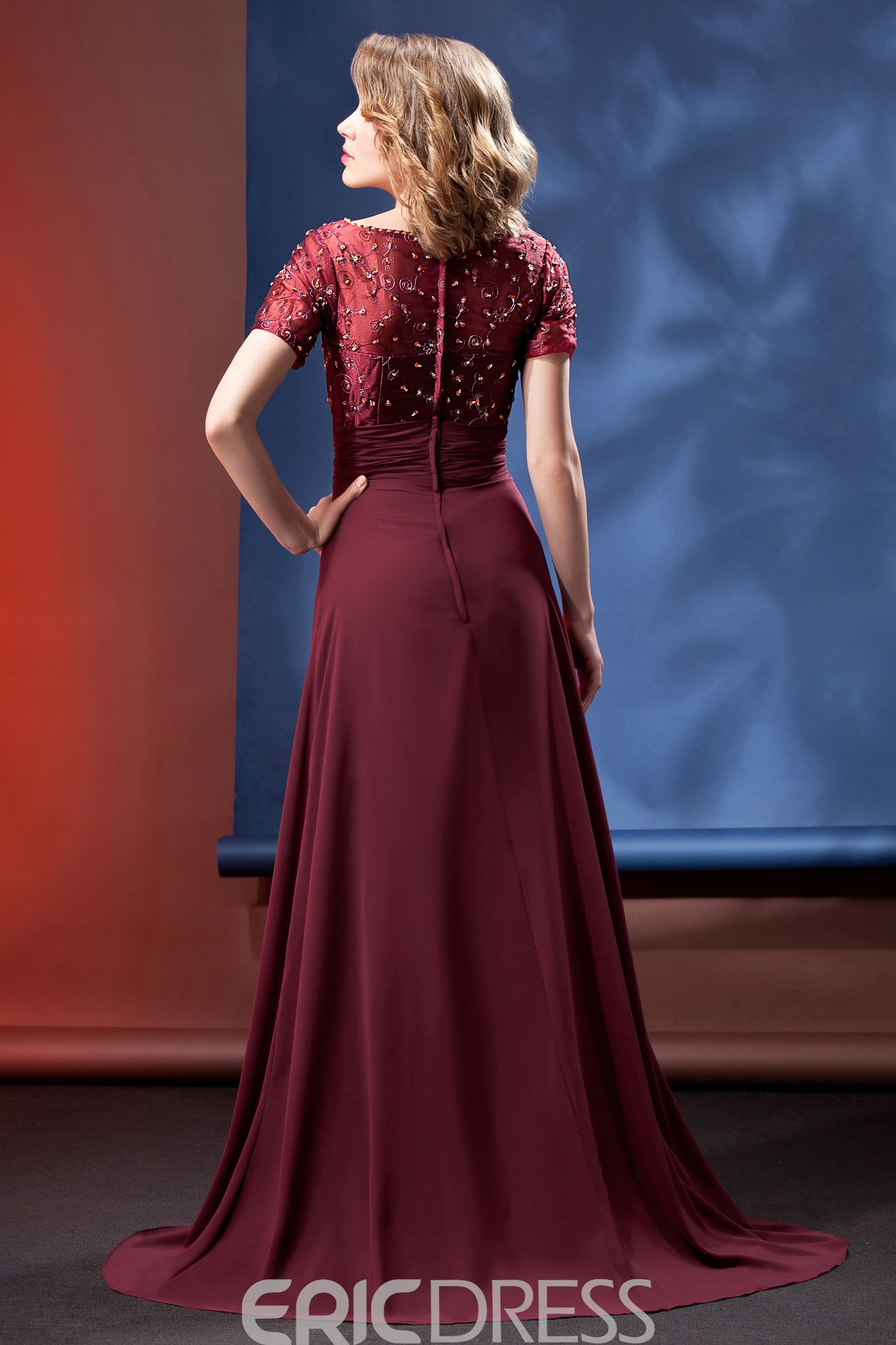 Charming Beading A-line V-Neck Short-Sleeves Floor-Length Mother of the Bride Dress