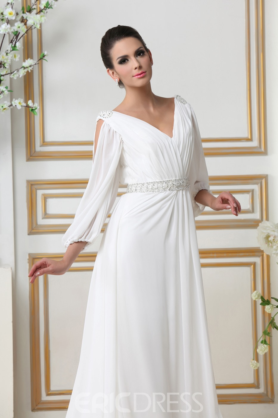 Glamorous Empire V-neck Court Train 3/4-Length Sleeves Wedding Dress