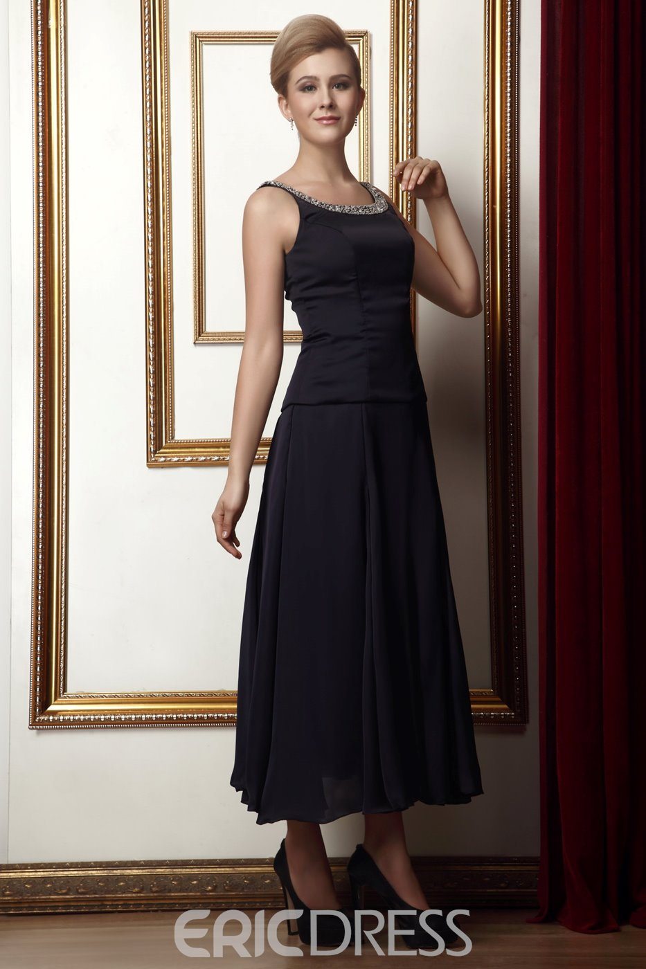 Tea-Length A-Line Scoop Sleeveless Beaded Mother of the Bride Dress