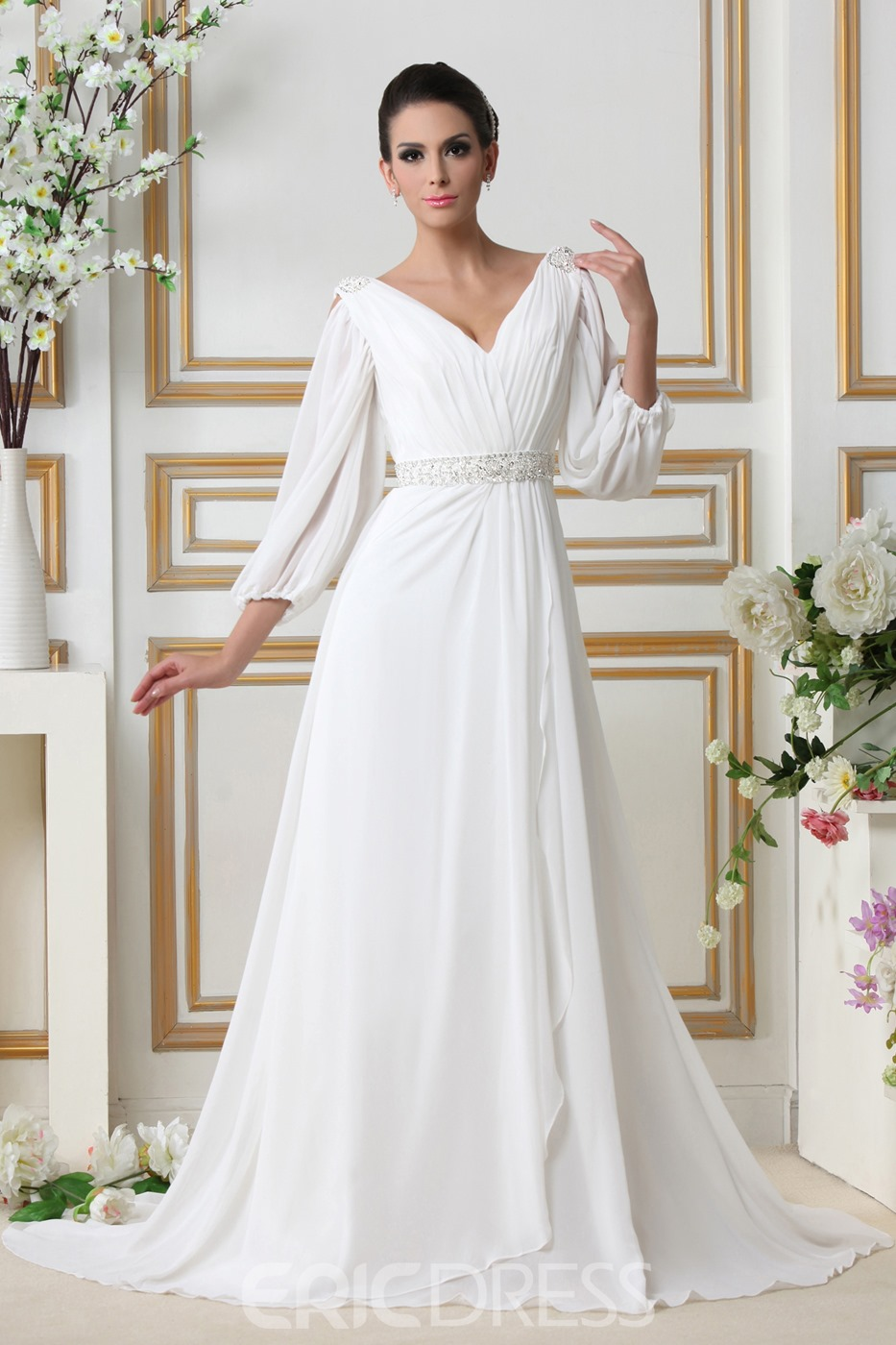 Glamorous Empire V-neck Court Train 3/4-Length Sleeves Wedding Dress ...