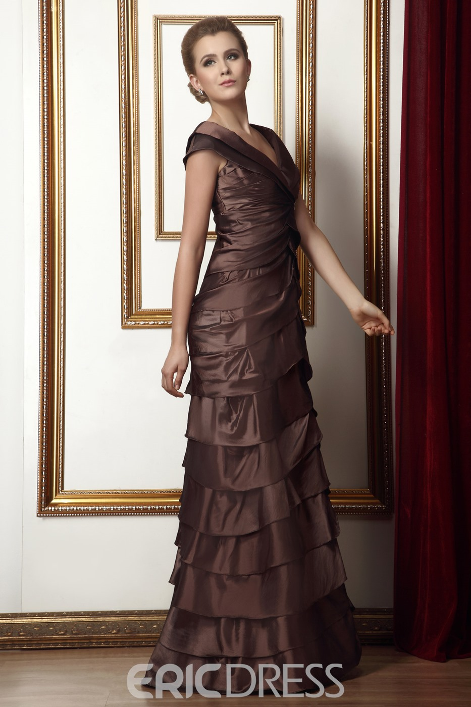 Unique Tiered Crystal Floral Pin A-Line V-Neck Floor-Length Alina's Mother of the Bride Dress With Jacket/Shawl