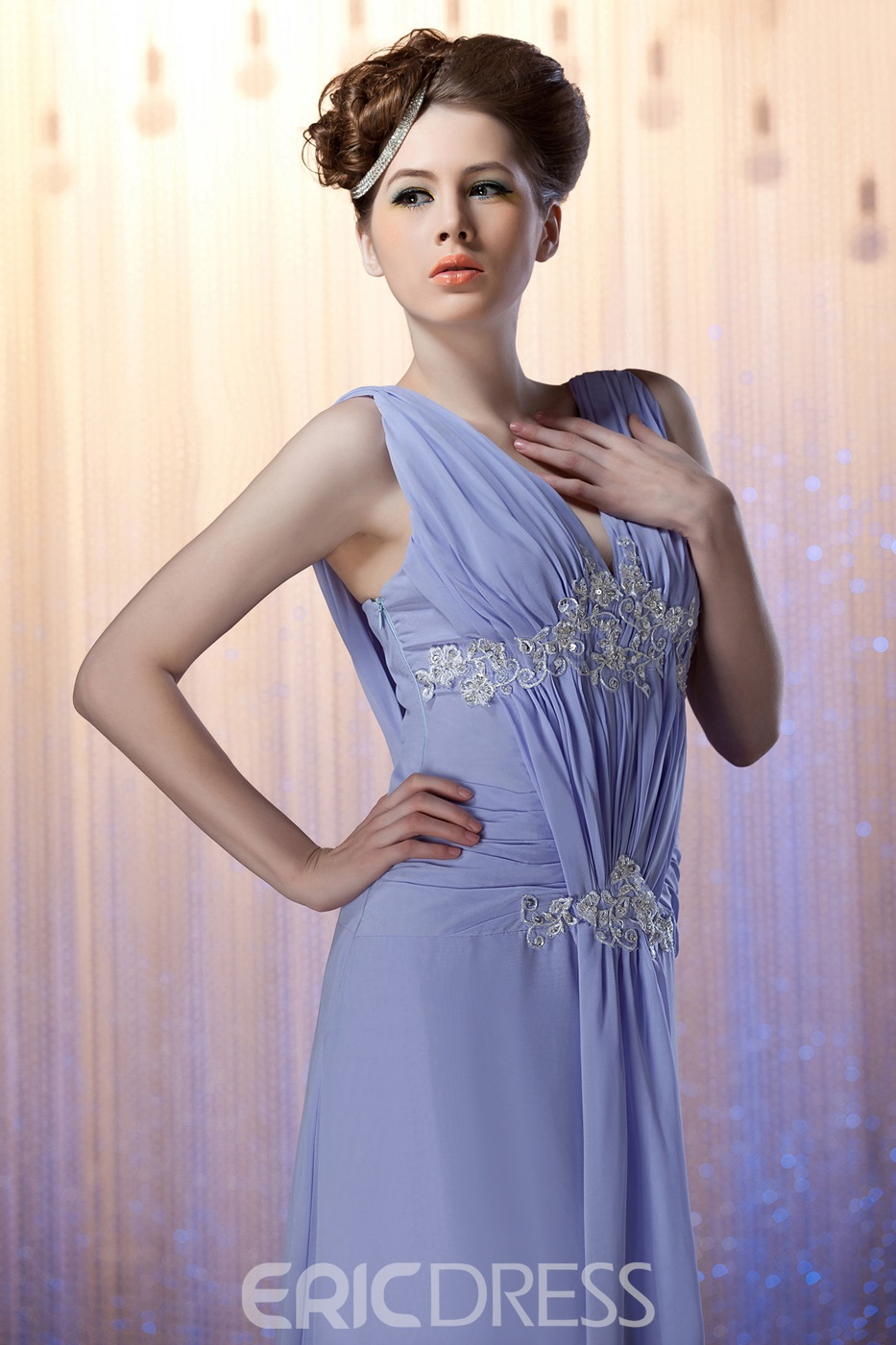 Fashionable A-Line V-neck Ankle-length Nadya's Mother of the Bride Dress With Jacket/Shawl