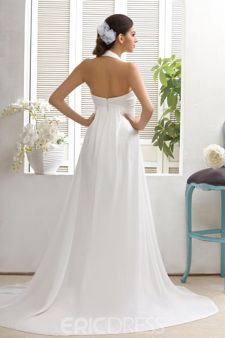 Plain Empire A Line Halter Top Court Train Wedding Dress