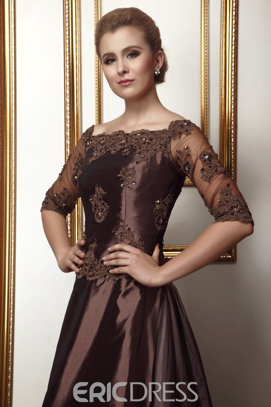 Attractive Lace/Pleats A-Line Off-the-Shoulder Floor-length Alina's Mother of the Bride Dress