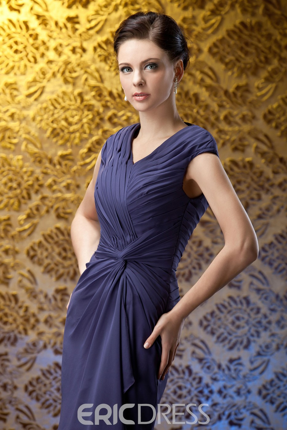 Fashion Ruched Column V-Neck Knee-Length Mother of The Bride Dress