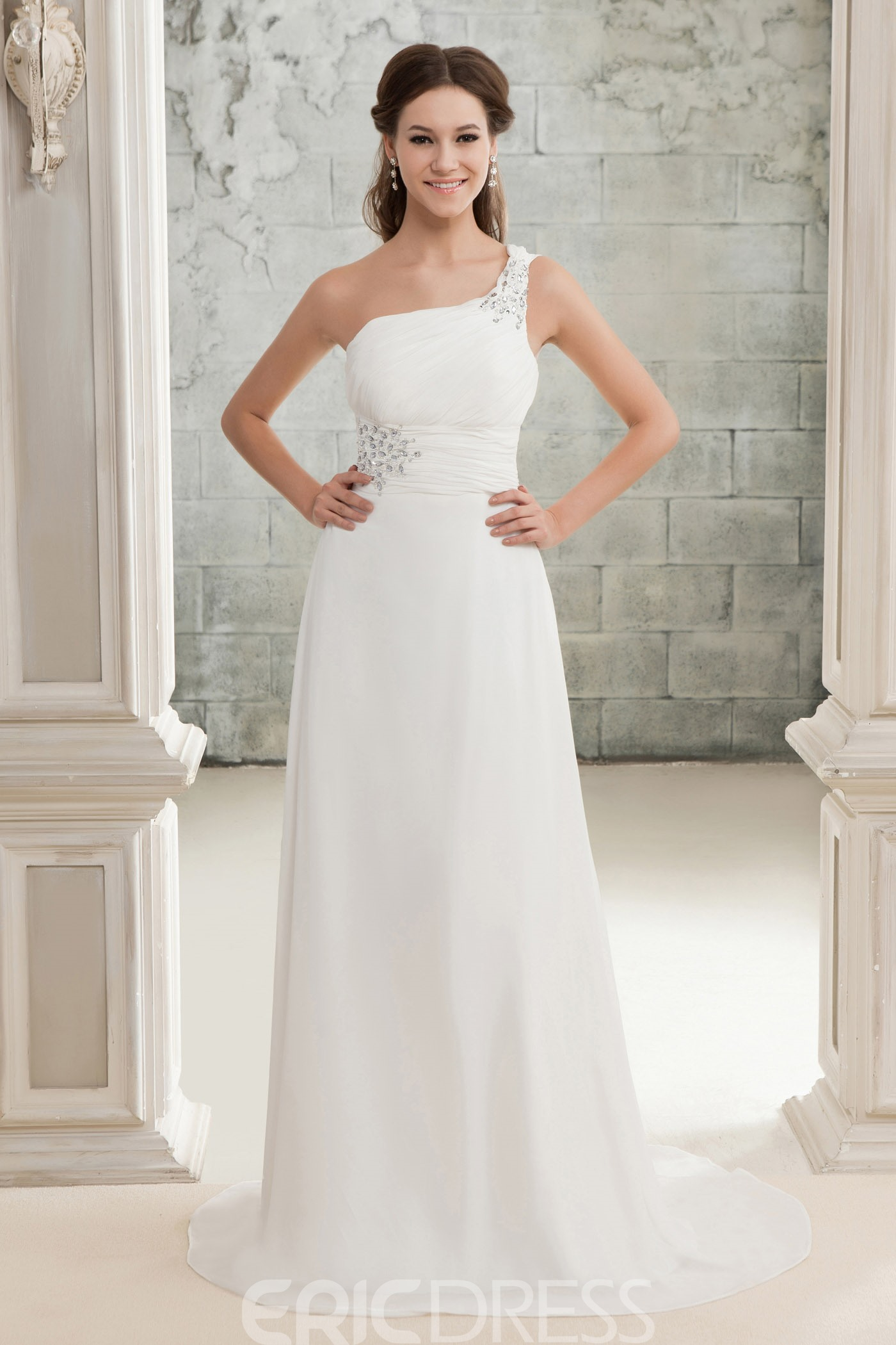 Pretty A-Line One-shoulder Court Train Chiffon Bridal Gown