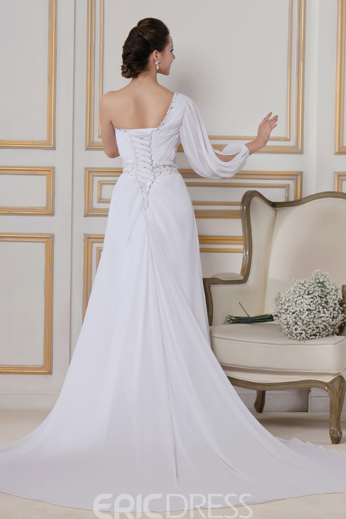 Classy Sheath/Column One-Shoulder Floor-length Chapel Sandra's Wedding Dress