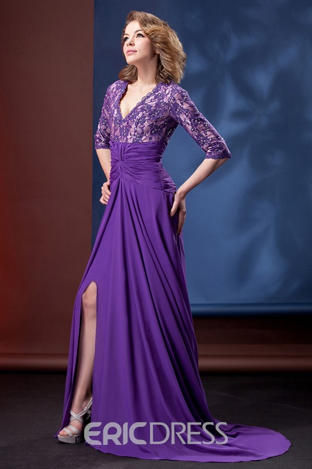 Delicated Lace A-line V-Neck 3/4-Sleeves Floor-Length Mother of the Bride Dress