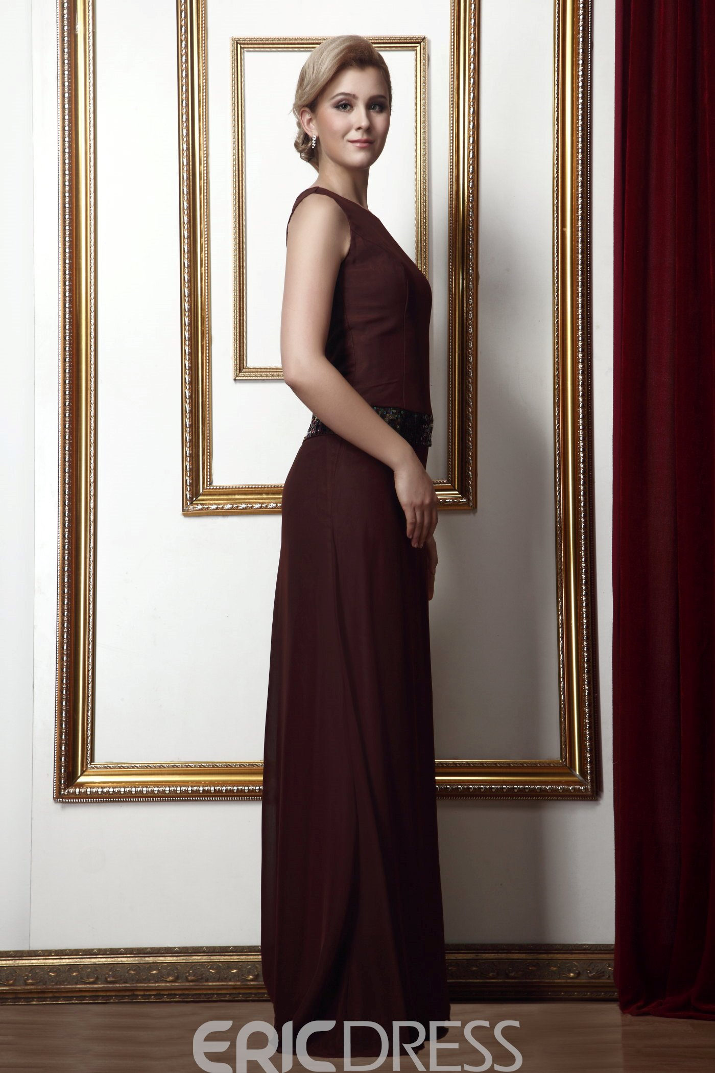 Concise Sheath Round Neckline Sequined Floor-Length Alina's Mother of the Bride Dress With Jacket/Shawl