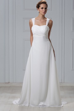 Exquisite Sheath/Column Straps Court Train Flowers Veronika's Wedding Dress