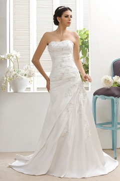 Attractive A-line/Princess Sweetheart Matte Sattin Taline's Bridal Gown