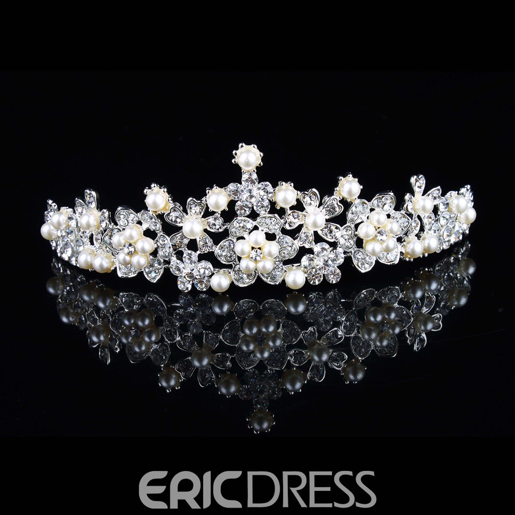 Alloy with Pearl Rhinestone Wedding Tiara