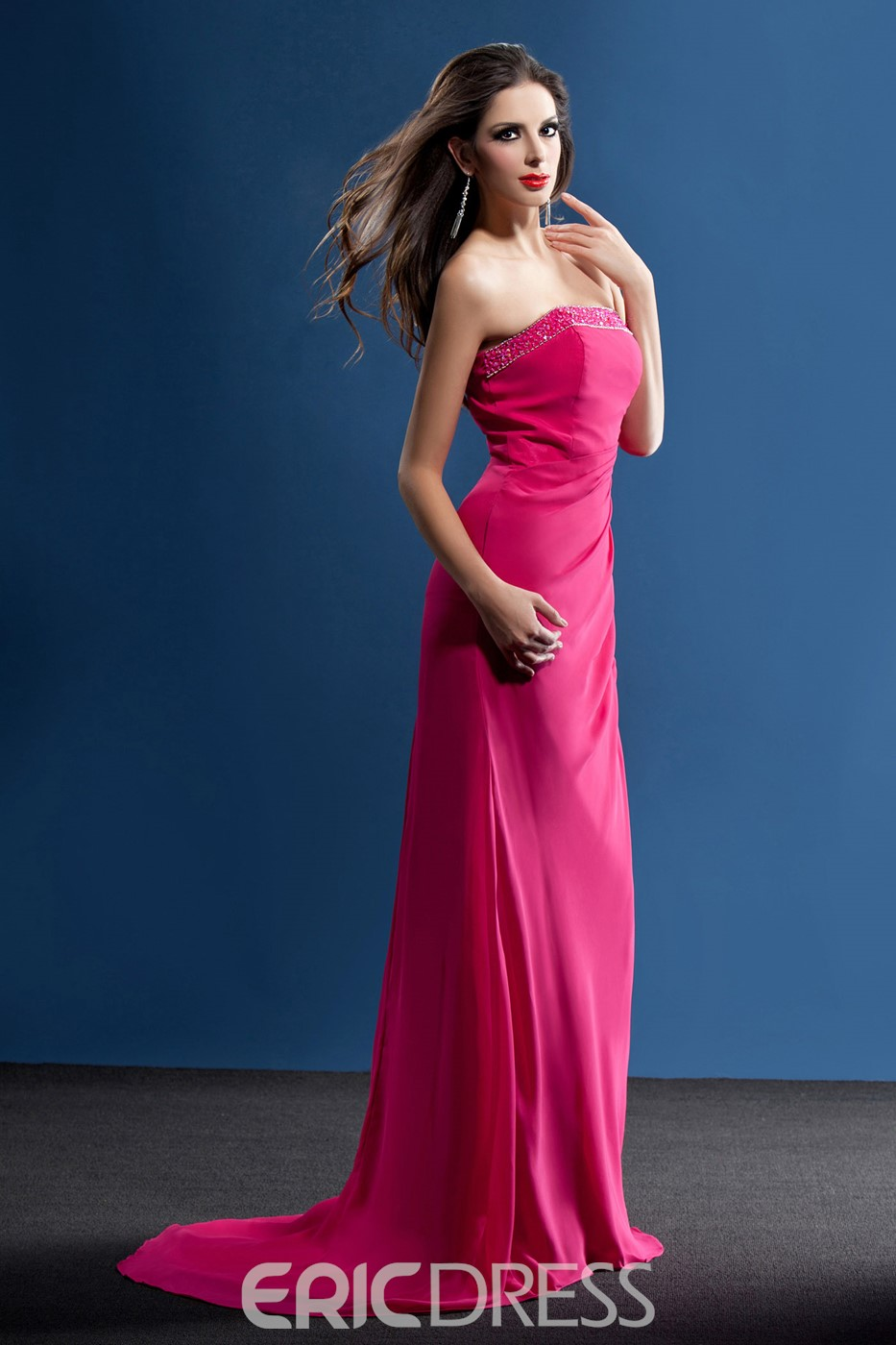 Wonderful Beading Sheath/Column Strapless Floor-Length Taline's Bridesmaid Dress