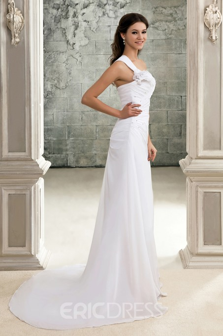 Ericdress One Shoulder Pleats Beading Beach Wedding Dress