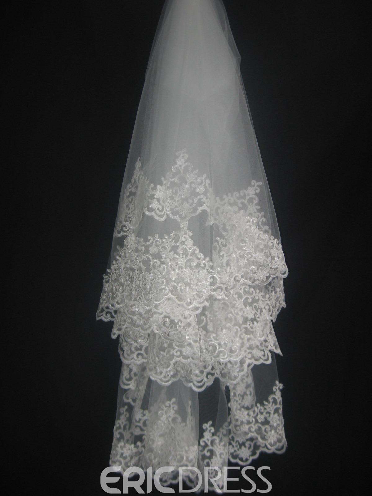 Faddish Elbow Wedding Bridal Veil with Lace Flowery Edge