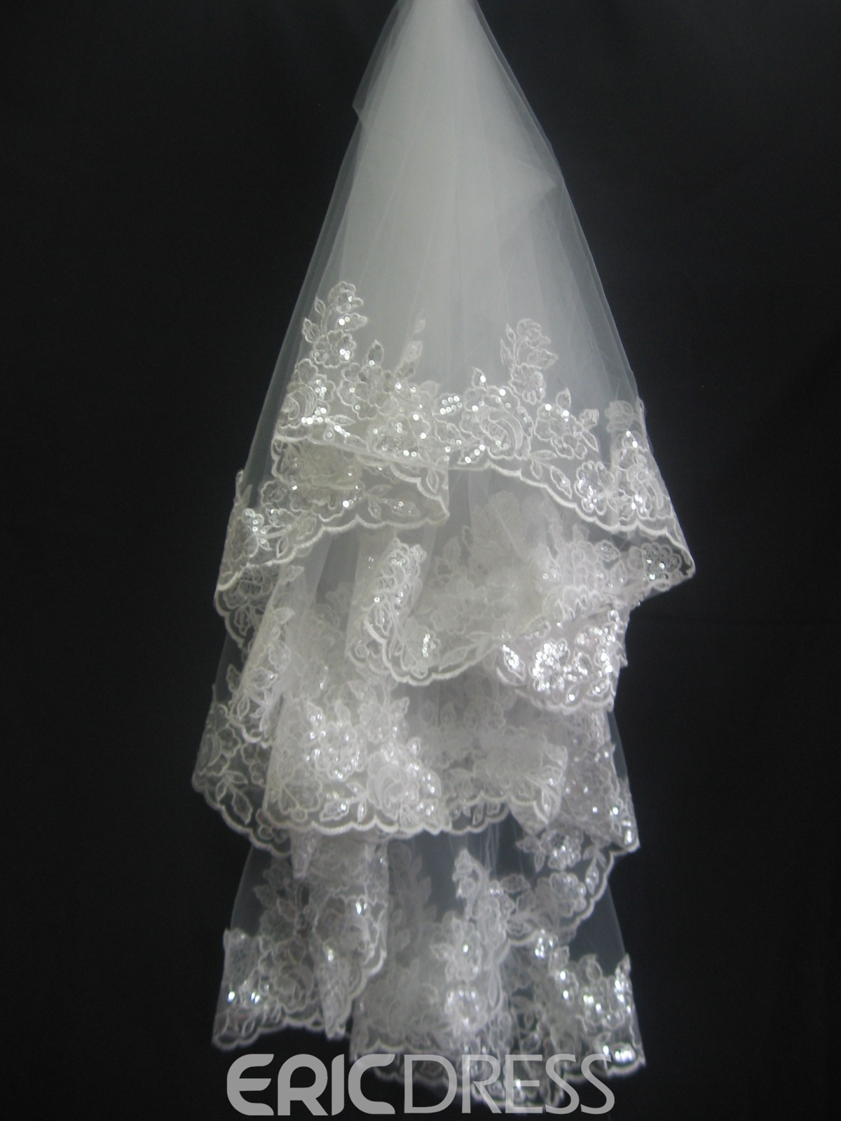 Gorgeous Fingertip Wedding Bridal Veil with Lace Flowery Edge