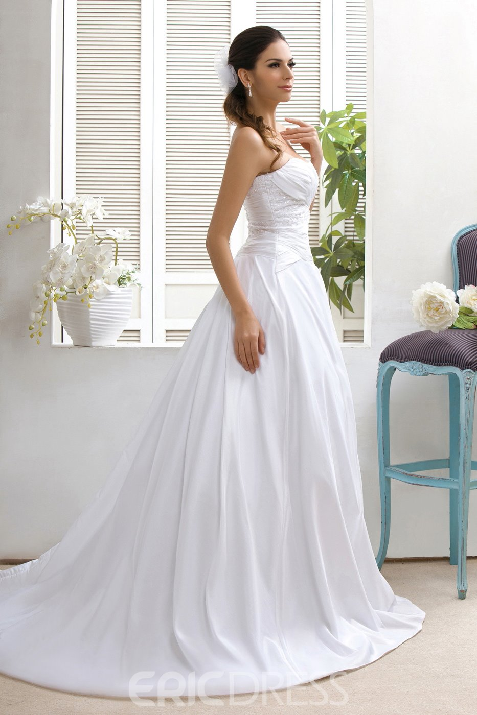 Concise Strapless A-Line Sweep Appliques Wedding Dress