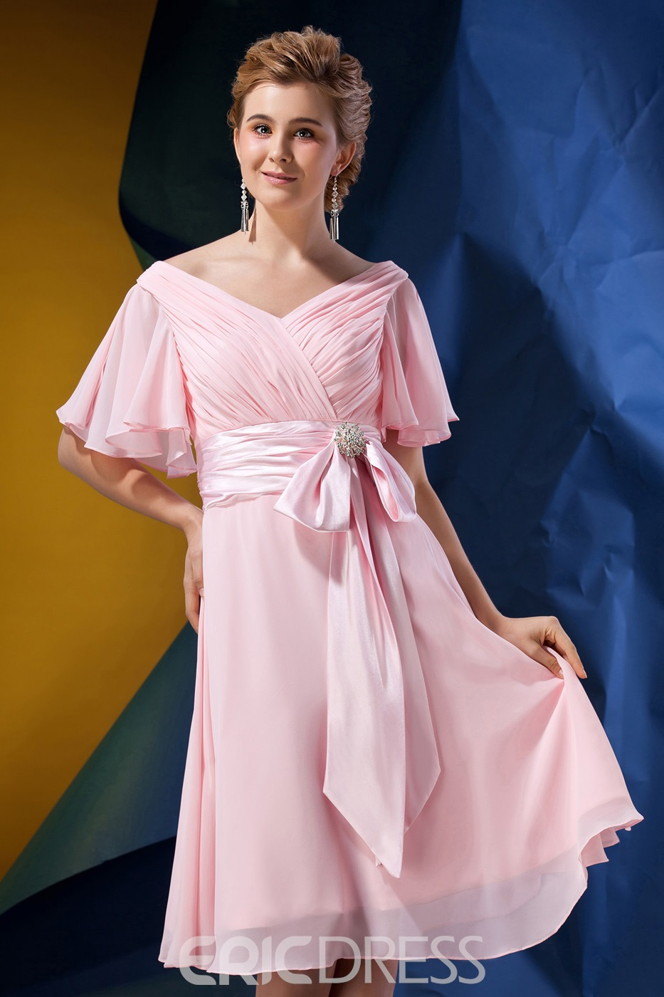Fashionable Pleats Beaded A-Line V-Neck Short Sleeves Tea-Length Alina's Mother of the Bride Dress
