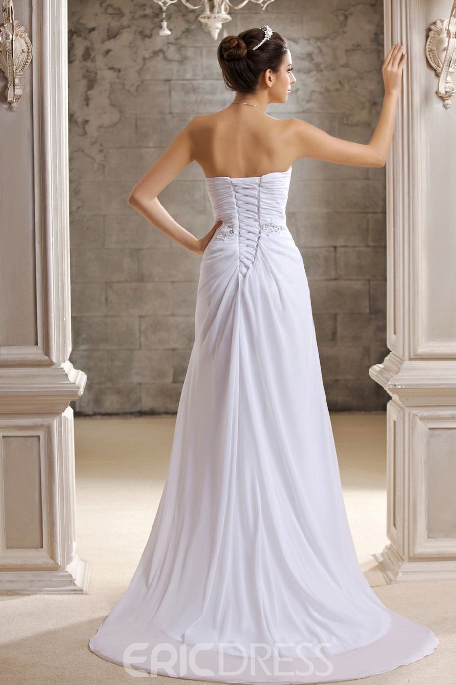 Flowing White Sweetheart Chapel Train Crystal Floral Pin Taline's Wedding Dress