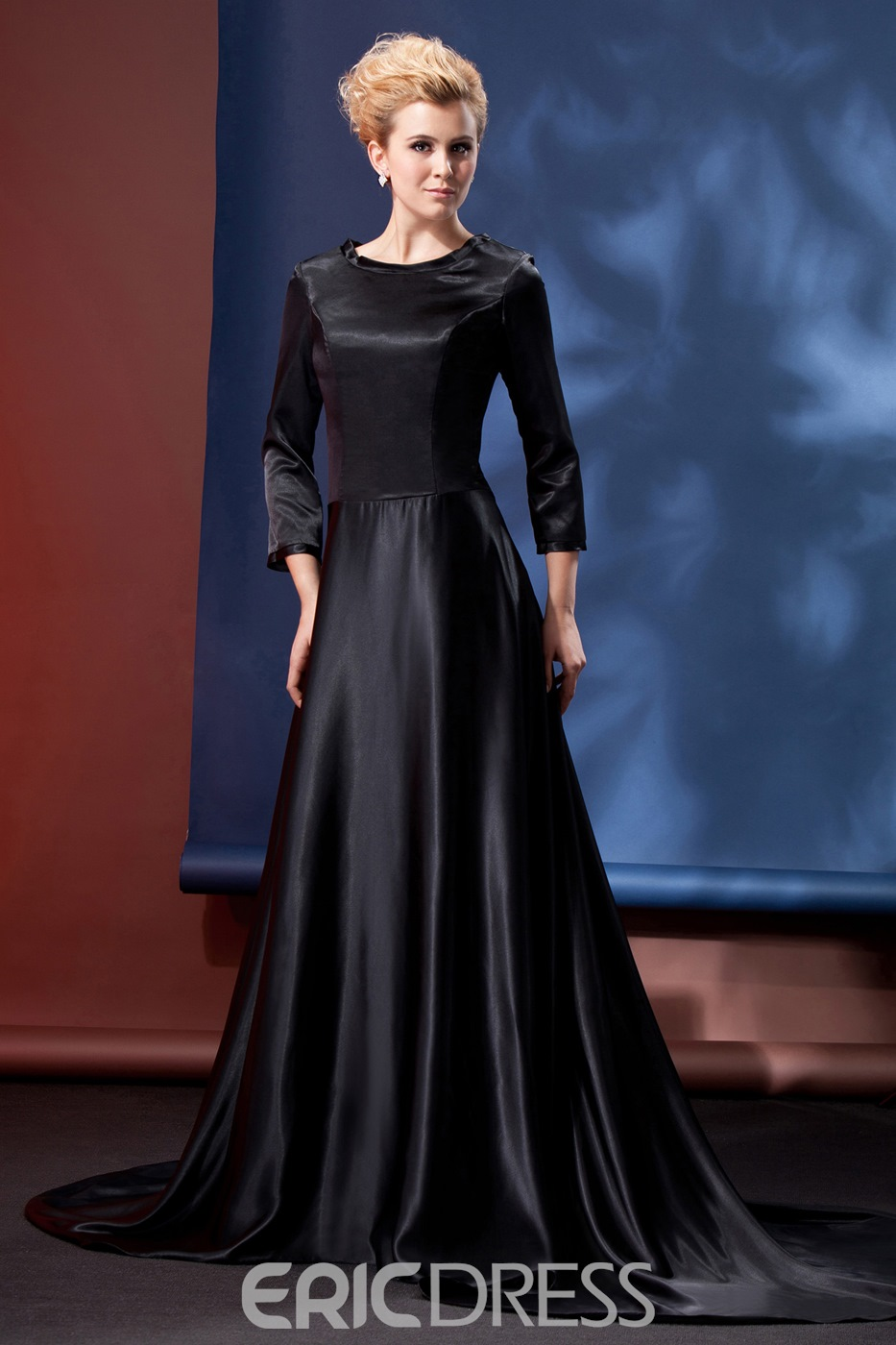Classy A-line Jewel Neck 3/4-Length Sleeves Court Train Alina's Mother of the Bride Dress