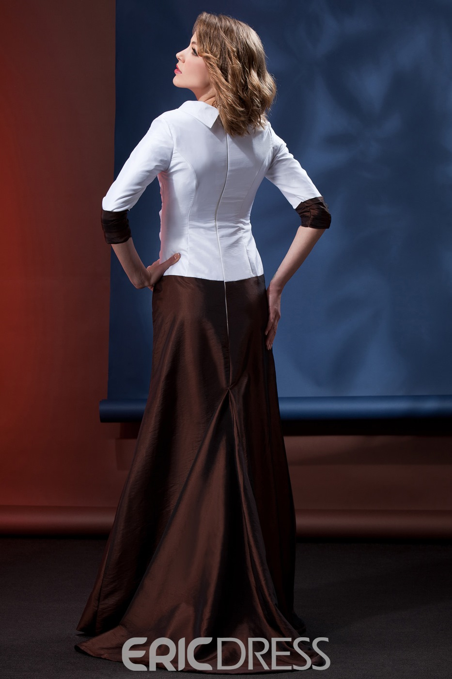 Concise A-Line Floor-Length V Neck 3/4-Length Sleeves Daria's Mother of the Bride Dress