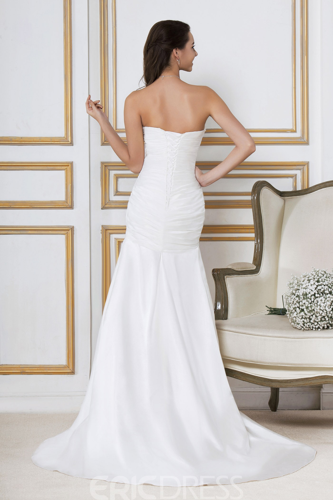 Elegant A Line Princess Strapless Court Sandra's Wedding Dress