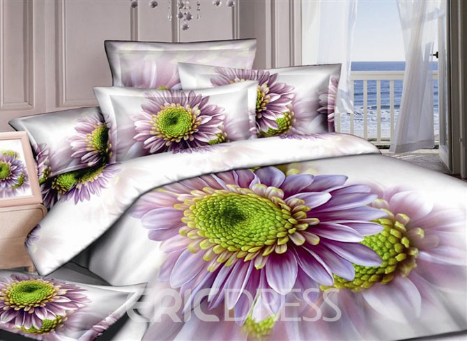 Graceful White 4 Piece Bedding Sets with Purple Flowers 10555604