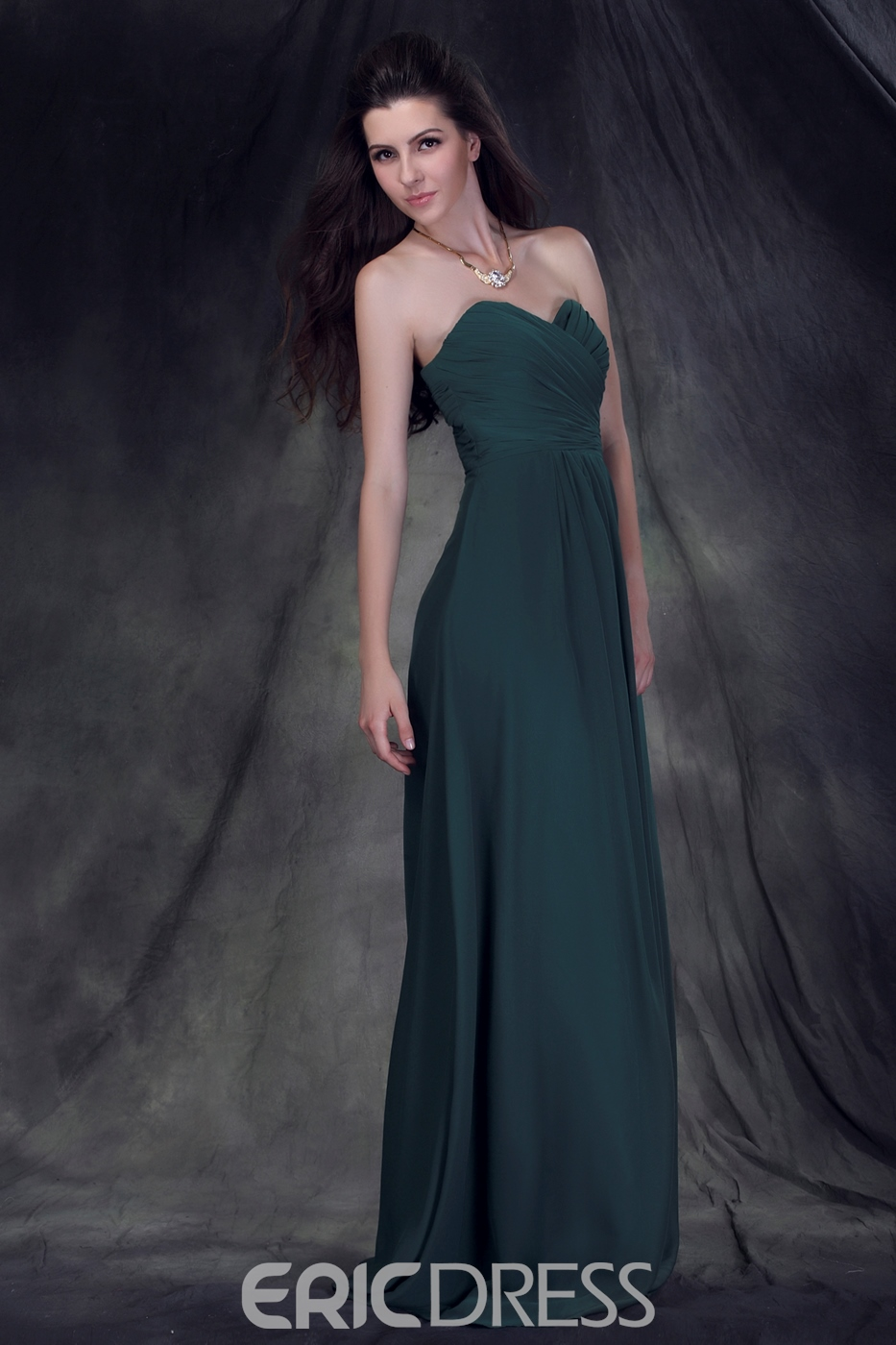 Exquisite Ruched A-Line Strapless Sleeveless Floor-Length Anderai's Bridesmaid Dress