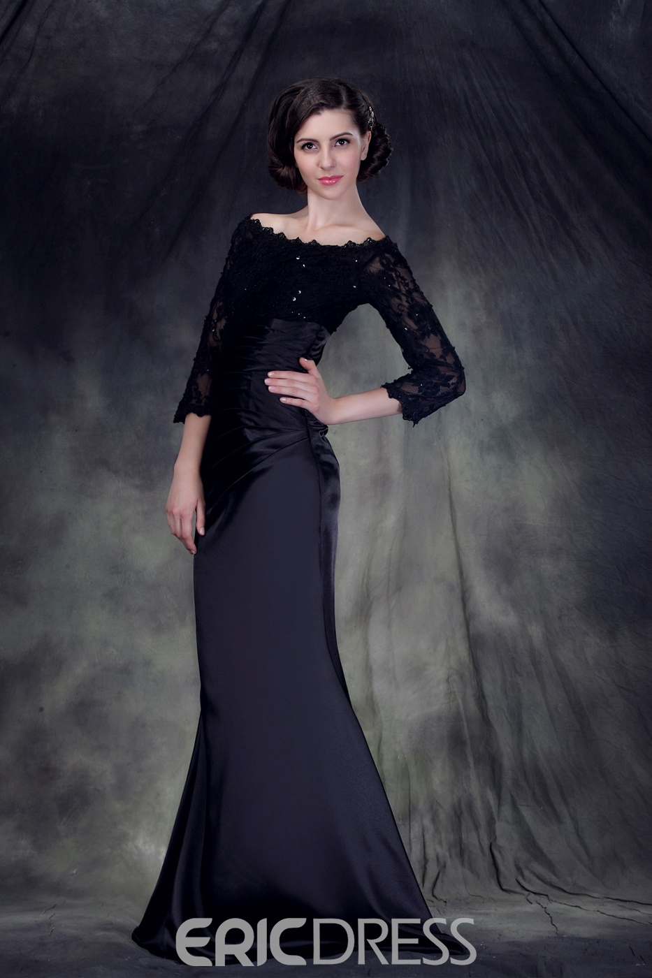 Charming Mermaid Off-the-Shoulder Floor-Length Anderai's Mother of the Bride Dress