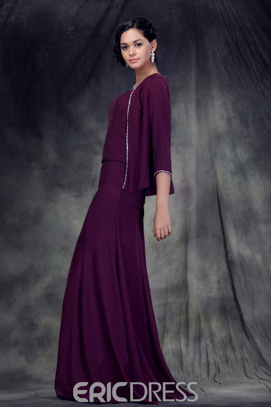 Concise Glittering A-Line Tea-Length Anderae's Mother Of The Bride Dress With Jacket/Shawl