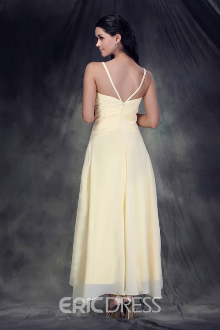 A-Line/Princess V-Neck Tea-length Anderae's Bridesmaid Dress