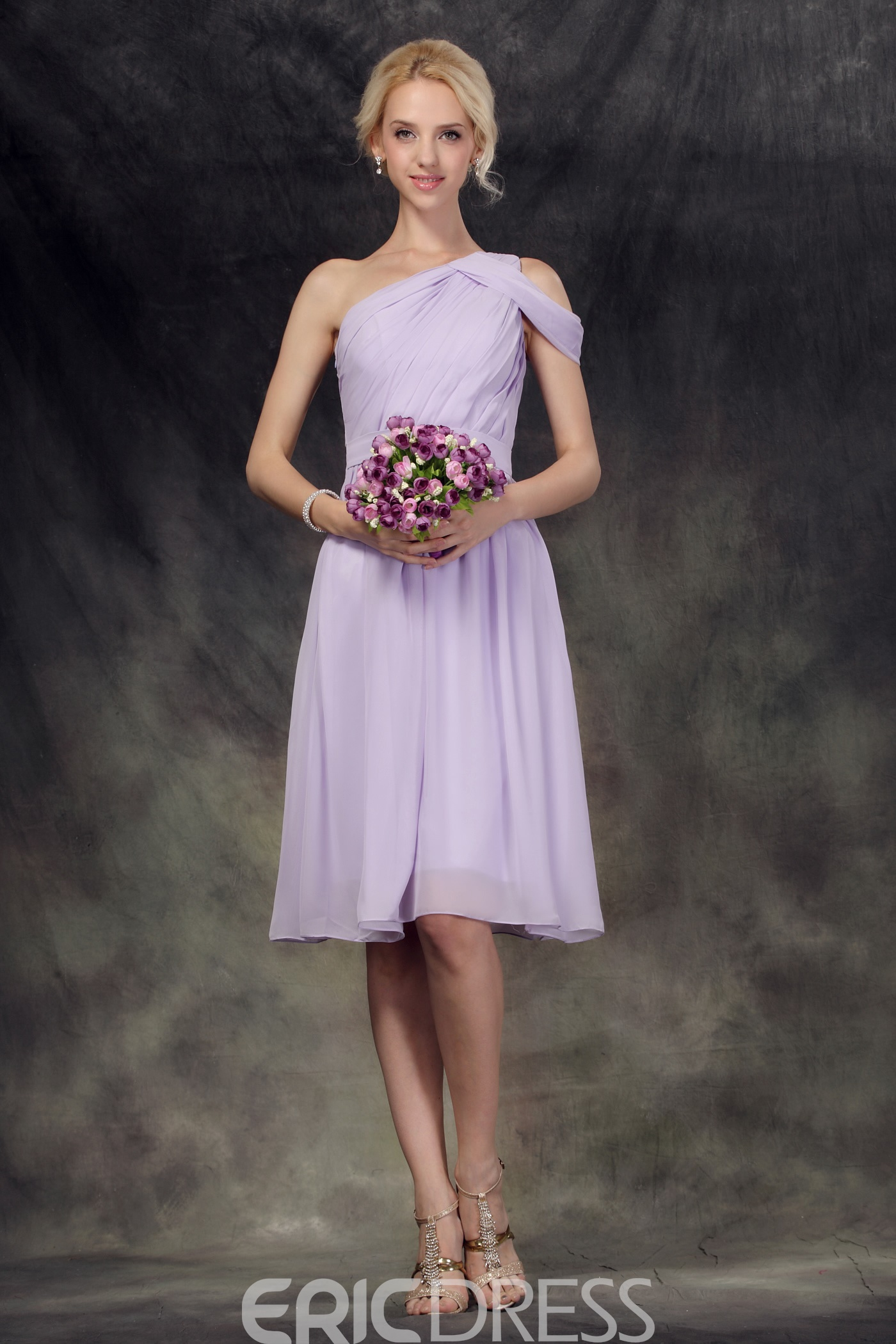 Terrific Pleats A-Line One-Shoulder Knee-Length Bridesmaid Dress