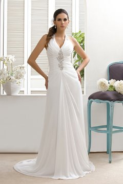 Classy Sheath/Column V-neck Court Beaded Taline's Wedding Dress
