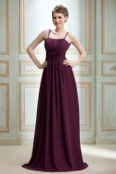 Flower Empire Waist Spaghetti Straps Floor-Length Nadya'ss Bridesmaid Dress